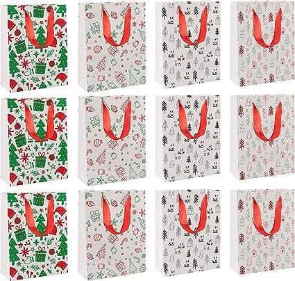 20 x 11 x 7 cm Pack de 12 Belle Vous Bolsas Regalo Navidad 6 de cada uno Bolsas de Regalo F/ácil Ensamblado Galletas Bolsas Navidad con Ventana 2 Dise/ños Decorativos para Dulces Regalos