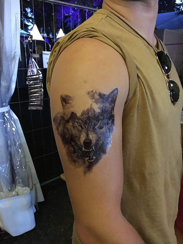 4 Sheets Wolf Tattoo Negro brazo Brazo tatuaje falso tatuaje lobo 4: Amazon.es: Belleza