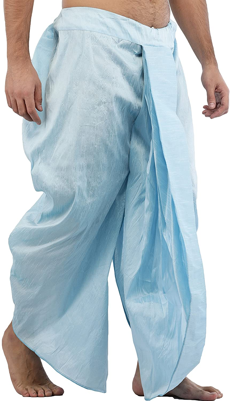 Maenner-Dhoti-Dupion-Silk-Plain-handgefertigt-fuer-Pooja-Casual-Hochzeit-Wear Indexbild 11