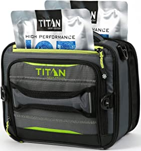 Arctic Zone Titan Deep Freeze Fridge Cold Expandable Insulated Horizontal Lunch Pack with 2X 250g High Performance Ice Walls, Grey