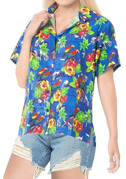 LA LEELA Playa más tamaño Blusas de Mujer con Botones, además de Las Mujeres Flojas