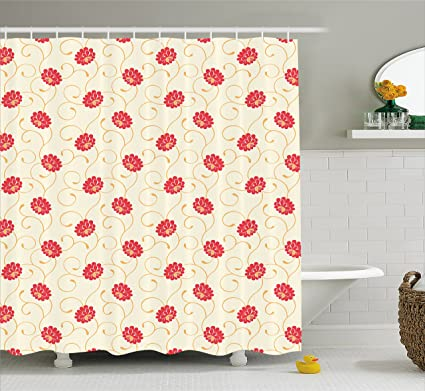 Lunarable Yellow And Red Shower Curtain Swirled Lines Blossoming Flowers Vintage Nature Illustration Fabric