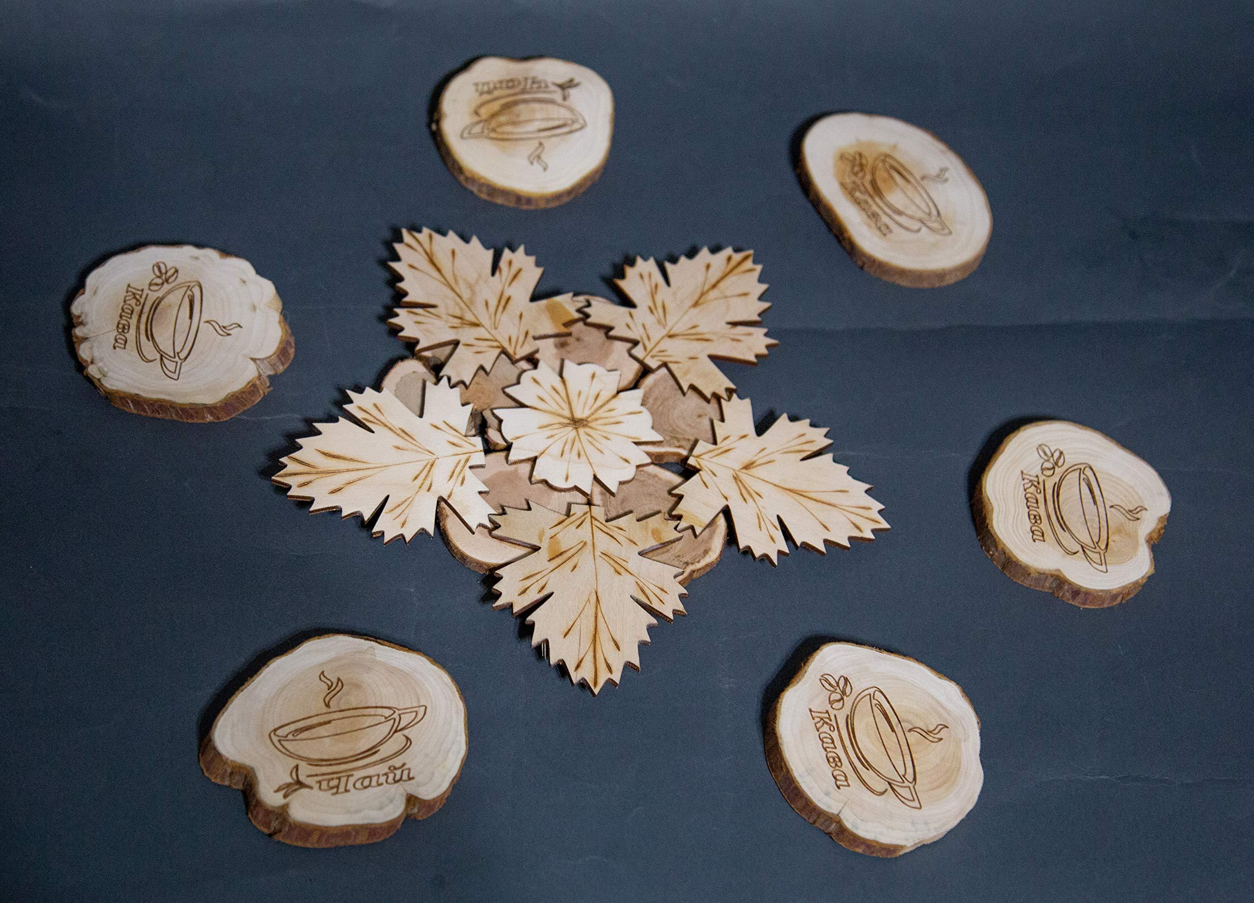 Teapot Trivets Set Handmade Carved Wood Ukrainian Juniper Wooden hot pad for a teapot and Cups