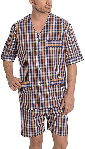 El Búho Nocturno Pijama de Caballero | Pijama de Hombre de Manga Corta Moderno a Cuadros