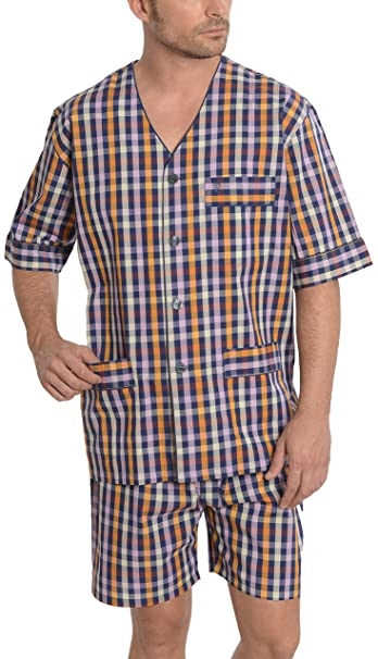 Pijama de Caballero de Manga Corta Moderno a Cuadros/Ropa de Dormir para Hombre -