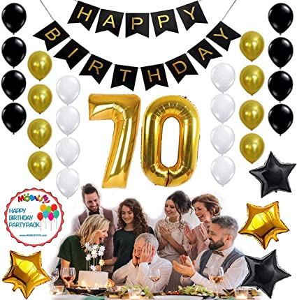 70th BIRTHDAY PARTY DECORATIONS KIT 31pcs White Black Gold Helium Balloons