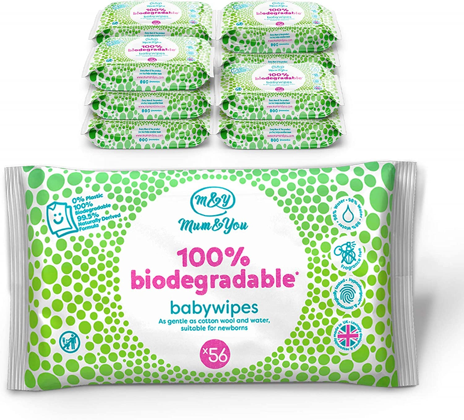 Mum & You Toallitas Húmedas Para Bebés 100% Biodegradables ...