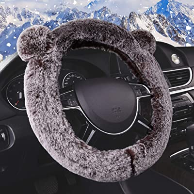 FH Group FH2011BLACK Steering Wheel Cover Cute and Fluffy Koala Bear Universal Plush Steering Wheel Cover fits Most Cars, Trucks, SUVs, and Vans: Automotive