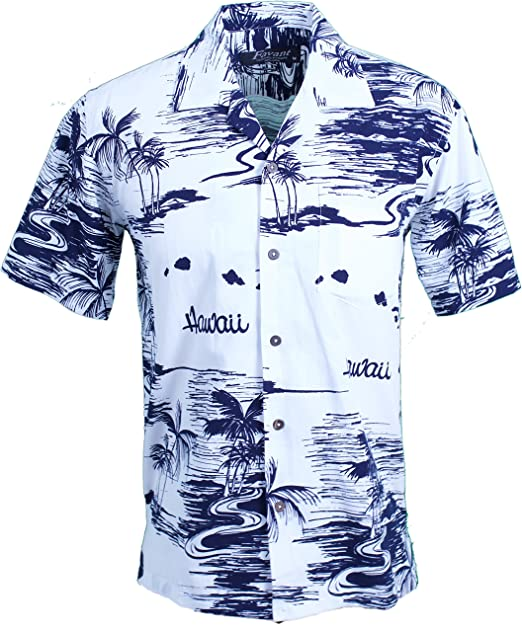 d8499c78 Favant Men's Hawaiian Aloha Tropical Luau Beach Map Print Shirt (Small,  White)