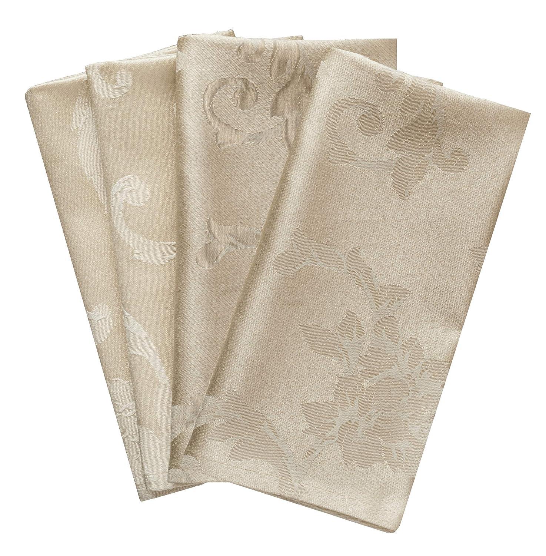 Benson Mills Harmony Scroll Set of 4 Napkins Birch, 18 x 18 Napkin