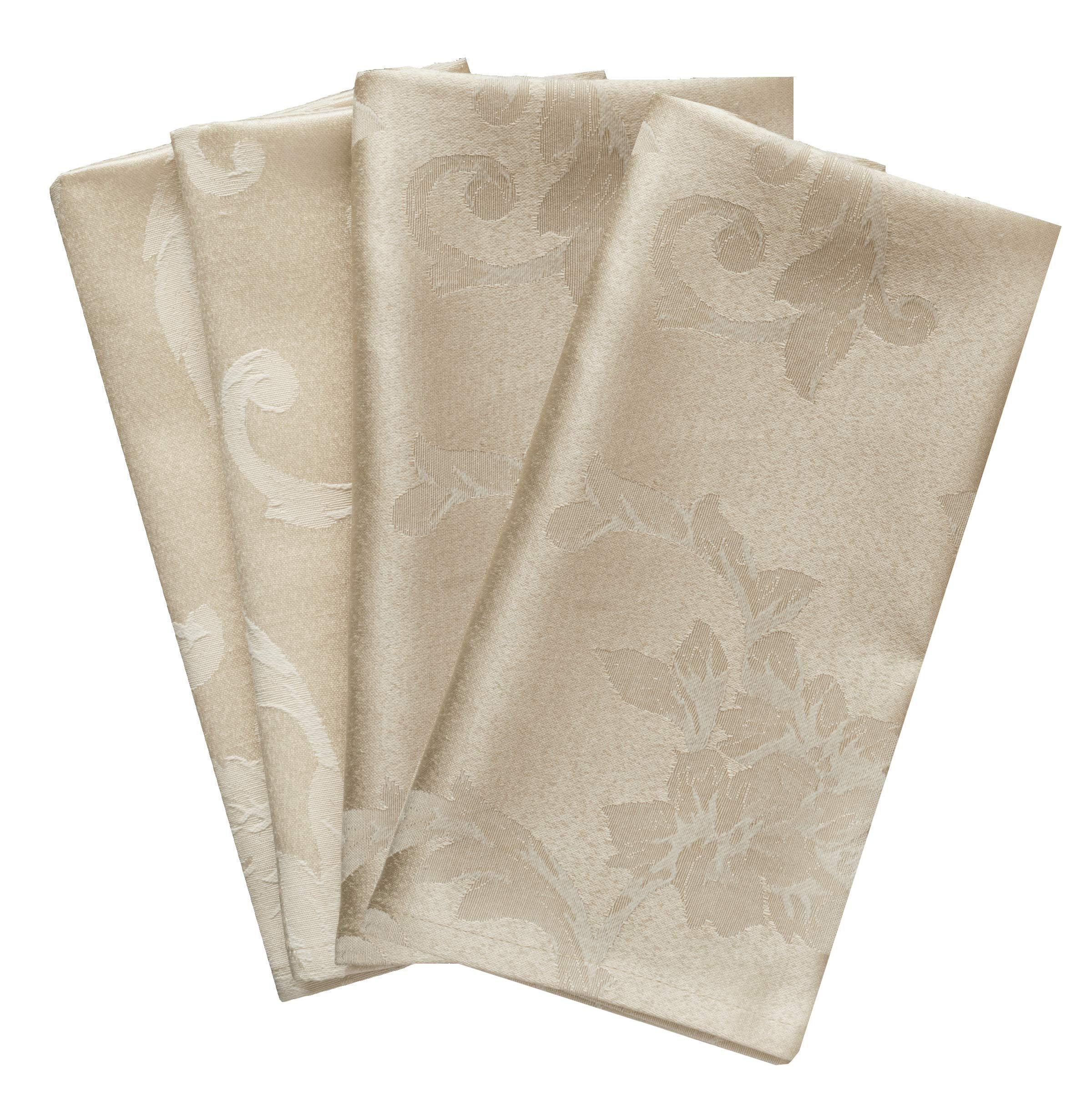 Benson Mills Harmony Scroll Set of 4 Napkins (Birch, 18'' x 18'' Napkin) by Benson Mills (Image #1)