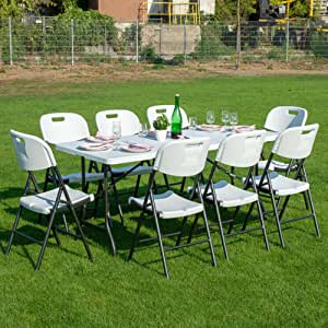 Folding outdoor and indoor dining set -183 cm folding table with 8 folding chairs