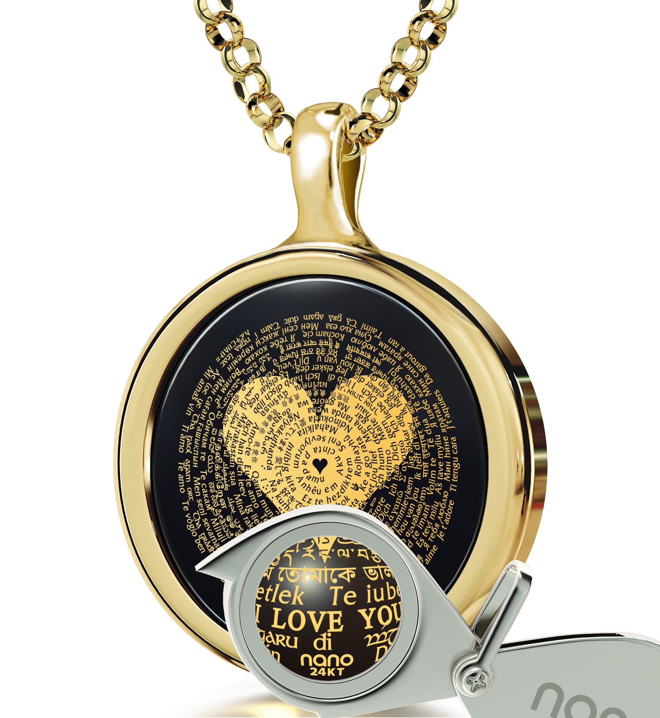 14k Yellow Gold I Love You Necklace 24k Gold Inscribed 120 Languages Onyx Pendant, 18'' Gold Filled Chain by Nano Jewelry (Image #3)