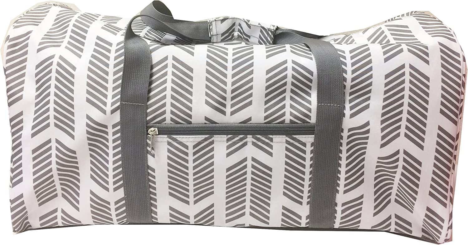 NDN22-17-Grey-P Grey White pink trim Heart pattern Gym Dance Cheer Duffel Bag