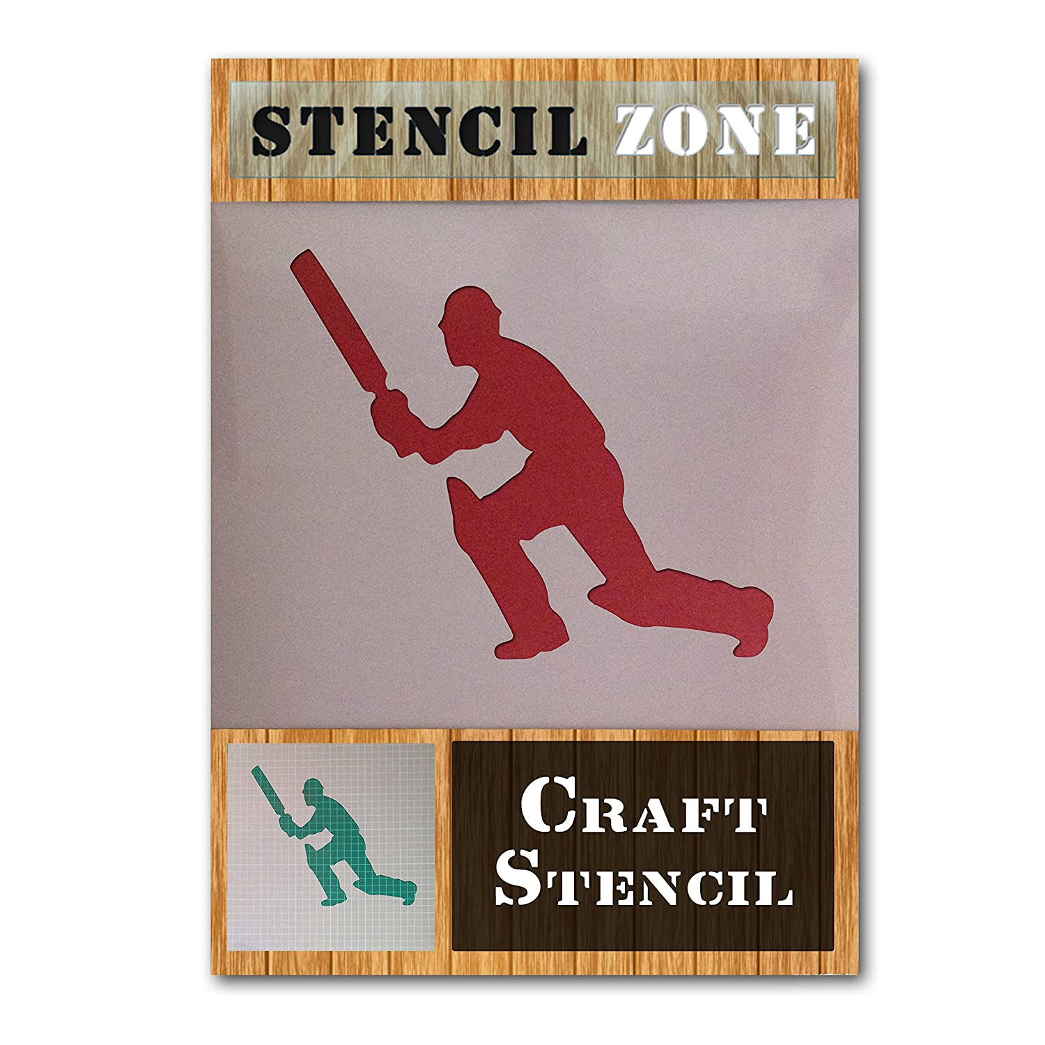 Cricket Player Ball Sport Game Mylar Airbrush Painting Wall Art Crafts Stencil 2