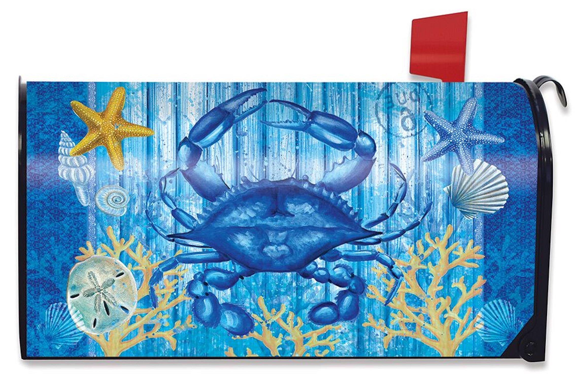 Briarwood Lane Blue Crab Welcome Summer Mailbox Cover Nautical Seashells Starfish Standard