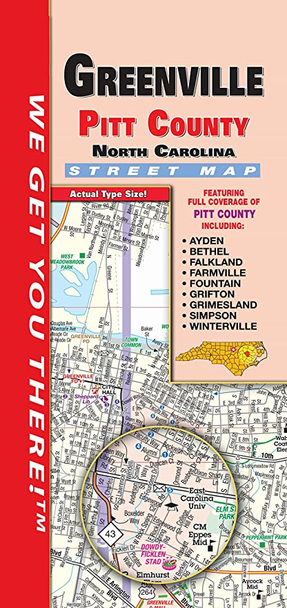 Amazon Com Greenville Pitt County Nc Fold Map Office Products