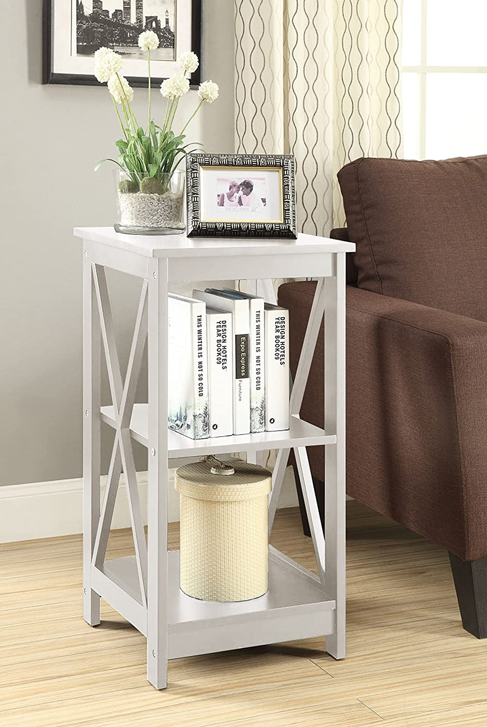 Amazon.com: Convenience Concepts Oxford End Table, White: Kitchen U0026 Dining