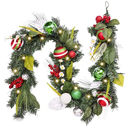 Pre Lit 6 Feet 72 Inch Classic Collection Splendor Red Green Silver And White Christmas Garland With Ball Ornament Flowers And Berries