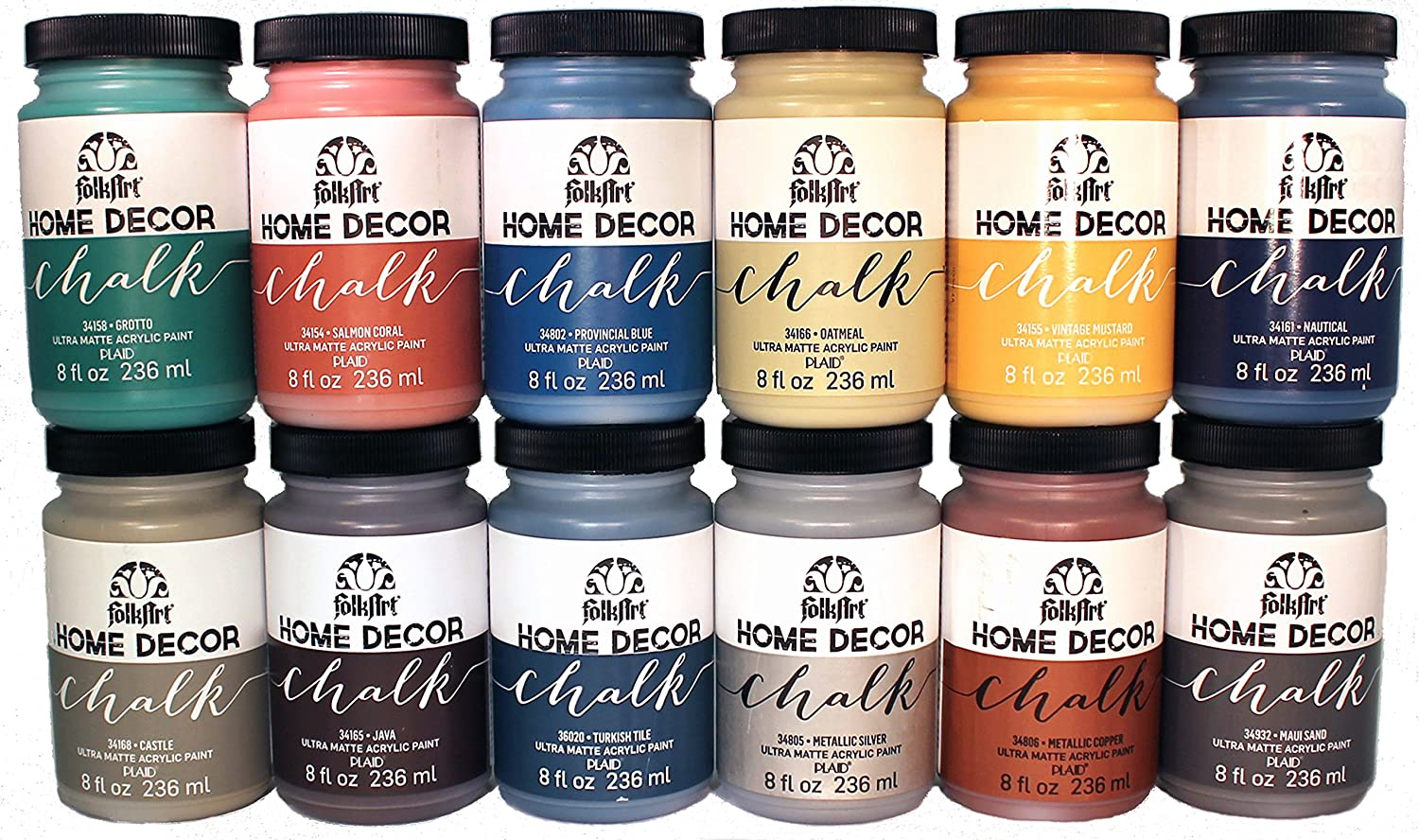 FolkArt Home Decor Chalk Finish Paint Set (8 Ounce), PROMO877 (12-Pack)