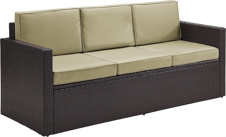 Crosley Furniture KO70048BR-SA Palm Harbor Outdoor Wicker Sofa, Brown with Sand Cushions