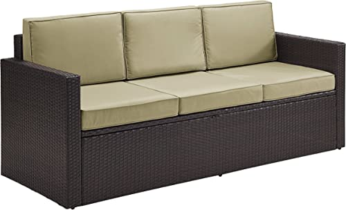 Crosley Furniture KO70048BR-SA Palm Harbor Outdoor Wicker Sofa, Brown with Sand Cushions
