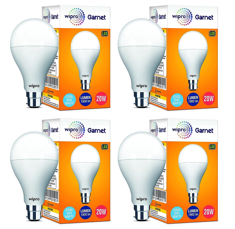 Wipro Garnet Base B22 20-Watt LED Bulb (Pack of 4, White)