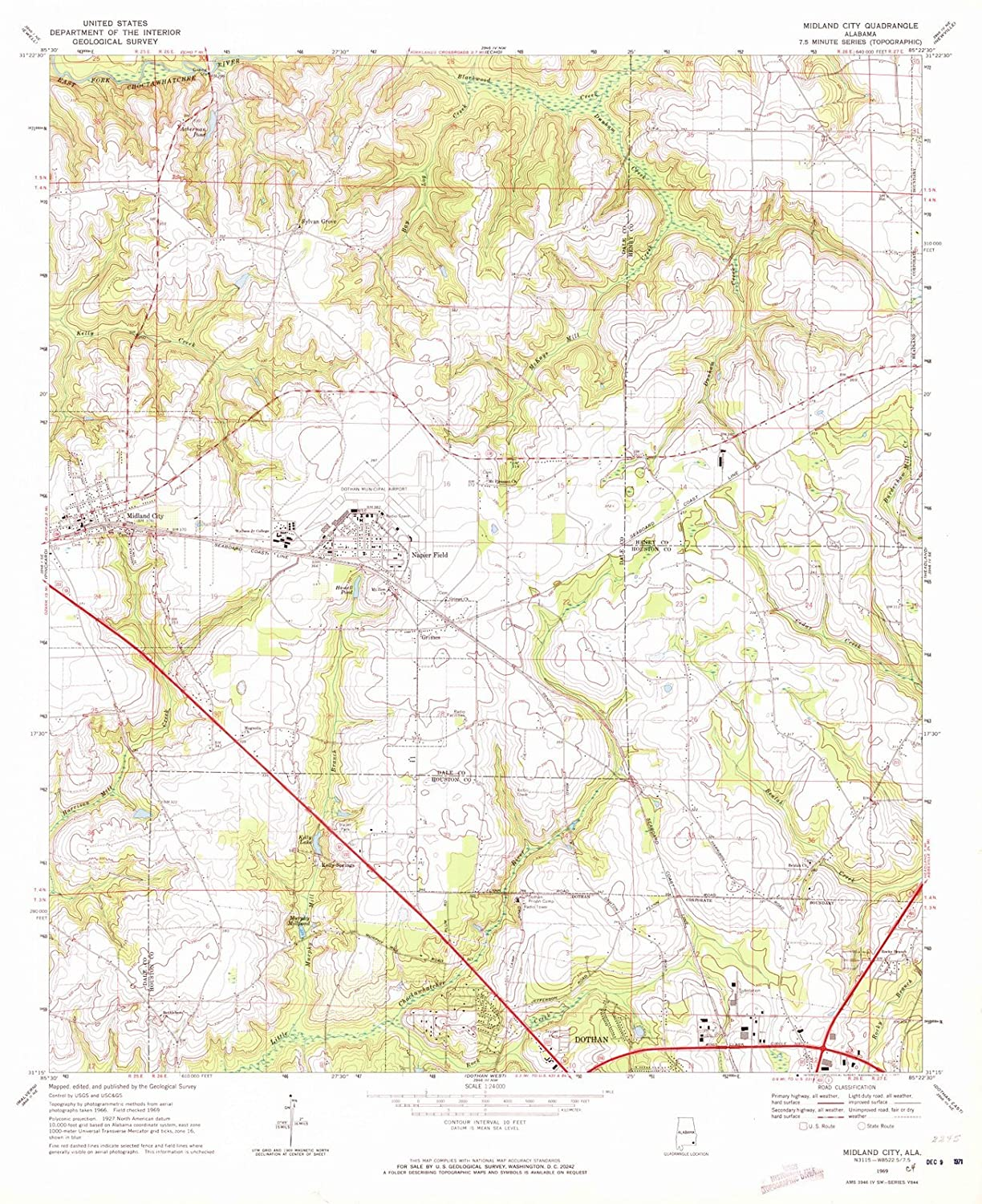 Amazoncom Alabama Maps 1969 Midland City Al Usgs Historical - Us-road-maps-for-sale