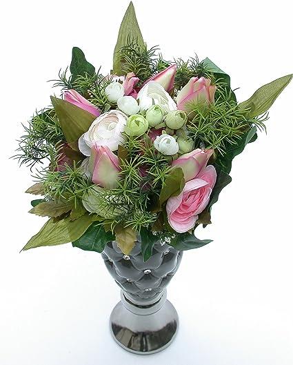 Mazzo Di Fiori Tulipani Costo.Mazzo Di Fiori Ranuncolo E Tulipani Bianco Rosa Verde H 30 Cm