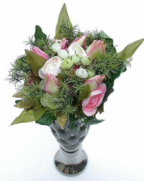 Mazzo Di Fiori Verdi.Mazzo Di Fiori Ranuncolo E Tulipani Bianco Rosa Verde H 30 Cm