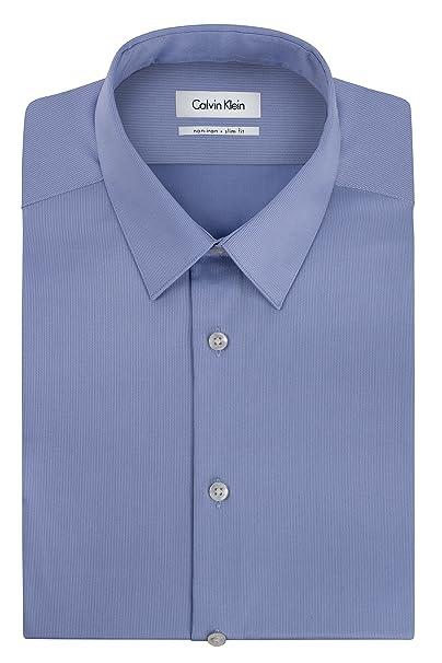 """9f9667f21b Calvin Klein Men's Non Iron Slim Fit Solid Point Collar Dress Shirt, Mist,  14.5"""""""
