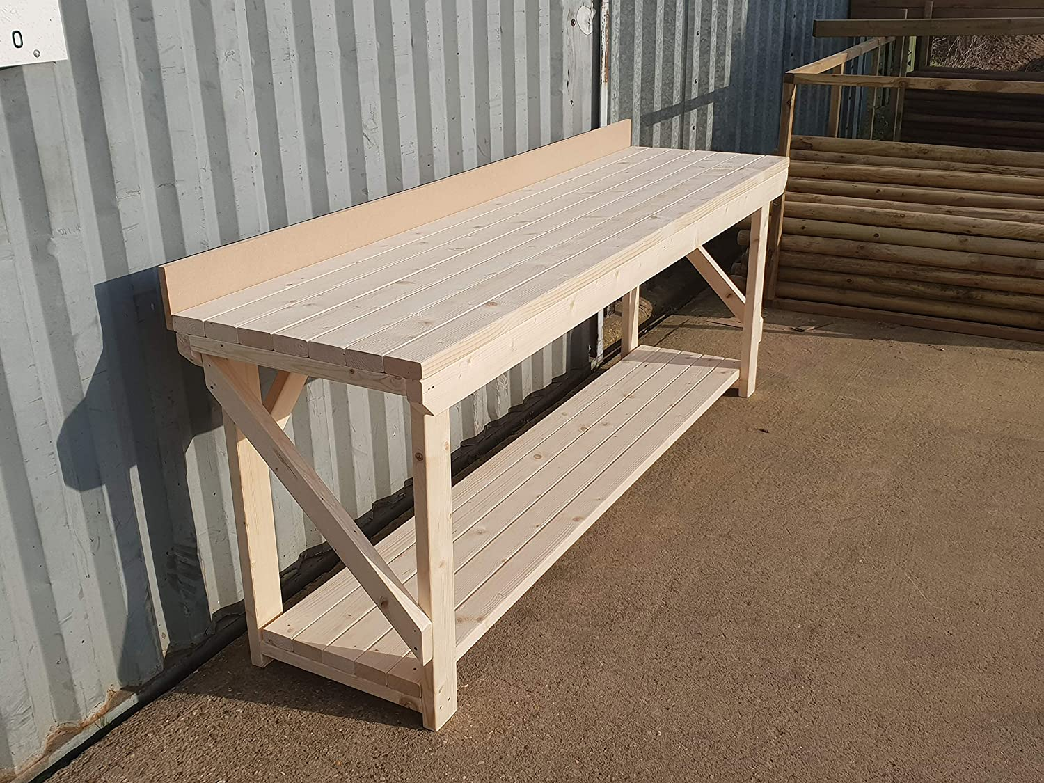 4ft Work Table Hand Made Strong Heavy Duty Wooden WorkBench Acorn-Premium With Rear MDF Upstand Made From Construction Grade Timber 4FT TO 8FT