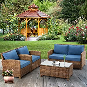 ECOTOUGE 4 Piece Patio Furniture Sets(Loveseat, 2pcs Armchairs, Glass Tea Table, Washable Couch Cushions) Wicker Conversation Sets for Outdoor(Brown)