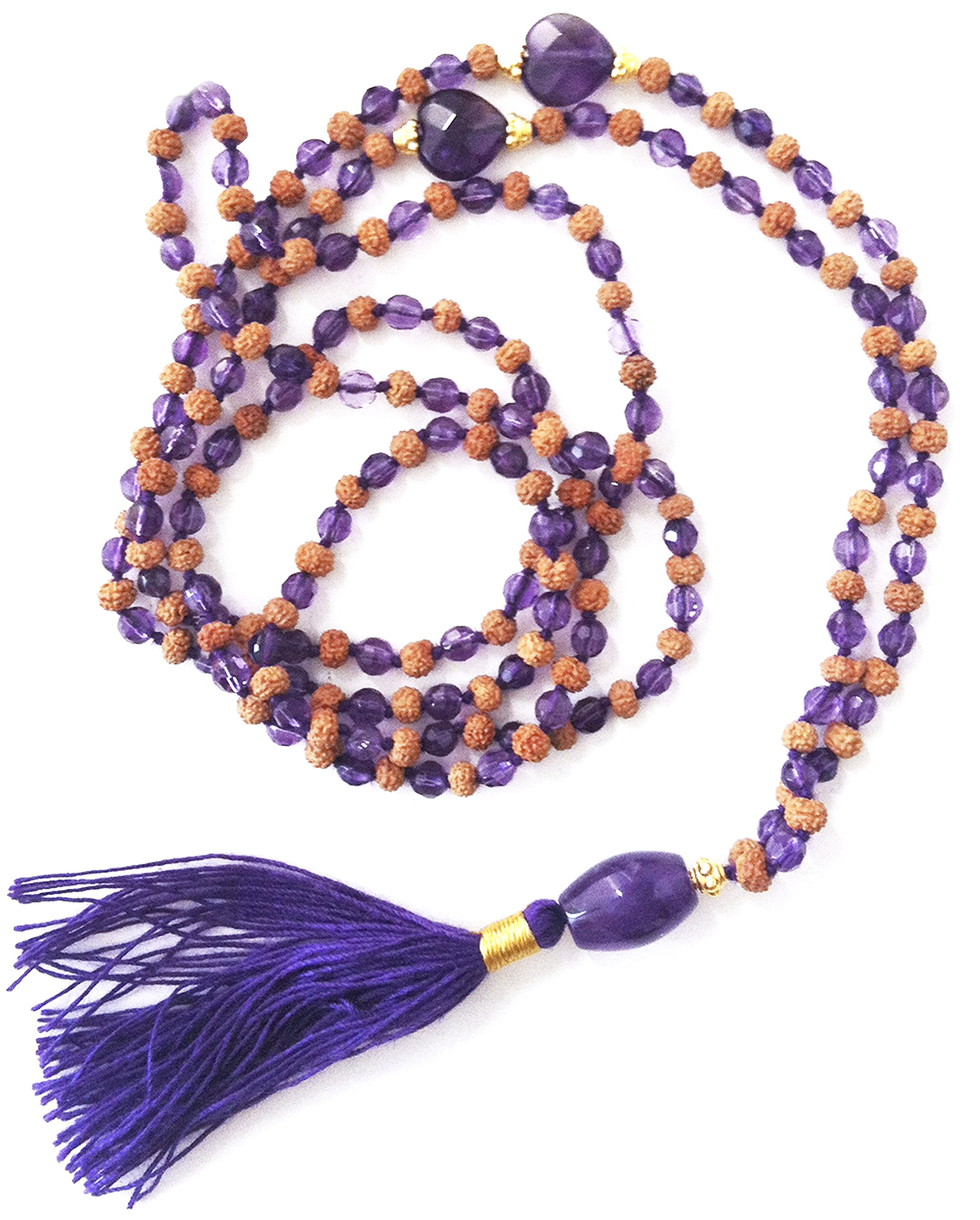 Jai Ho Mala 216 Rudraksha Prayer Beads (22K Gold Plated Silver Caps & Crystal Beads & Pendant AMETHYST)