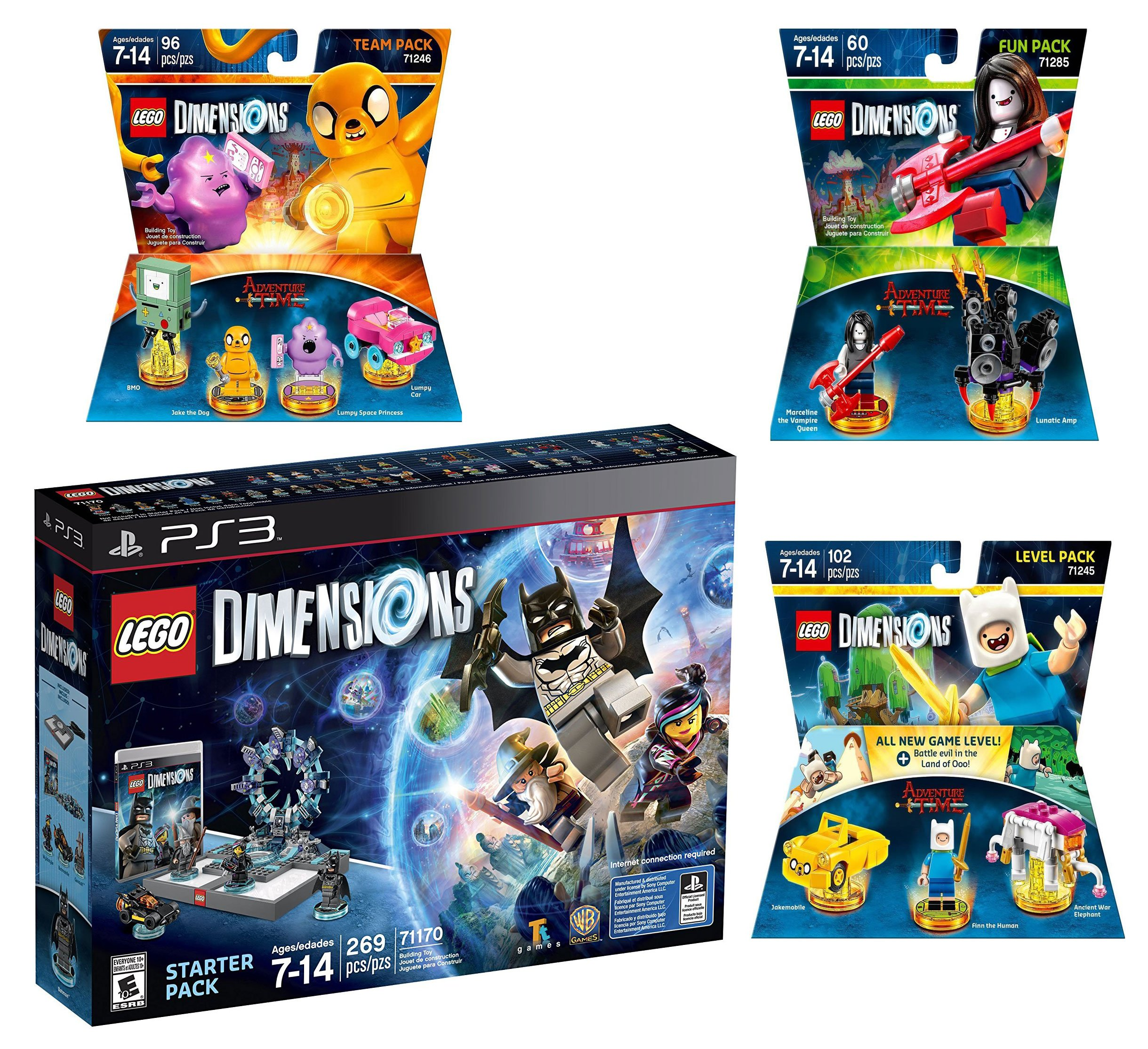 Lego Dimensions Starter Pack + Adventure Time Finn The Human Level Pack + Jake The Dog Team Pack + Marceline The Vampire Queen Fun Pack for Playstation 3 or PS3 Slim Console