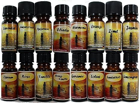 16 Botellas Aceites Perfumados Concentrados con Aceites Esenciales Puros - Ref5 - Total Wellness - Incluyen las más sofisticadas fragancias - 10ml ...