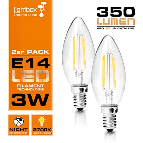 (2er Pack) E14 LED 3 W lámpara, 350 lumens (equivalente a 25