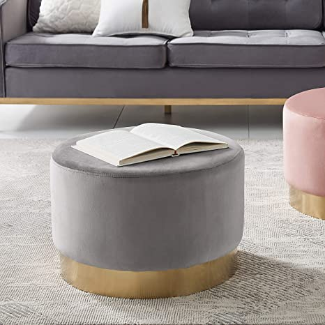 Remarkable Art Leon Round Ottoman Large Velvet Tufted Upholstered Footrest Stool Ottoman With Gold Plating Base For Living Room Bedroom Grey Pdpeps Interior Chair Design Pdpepsorg