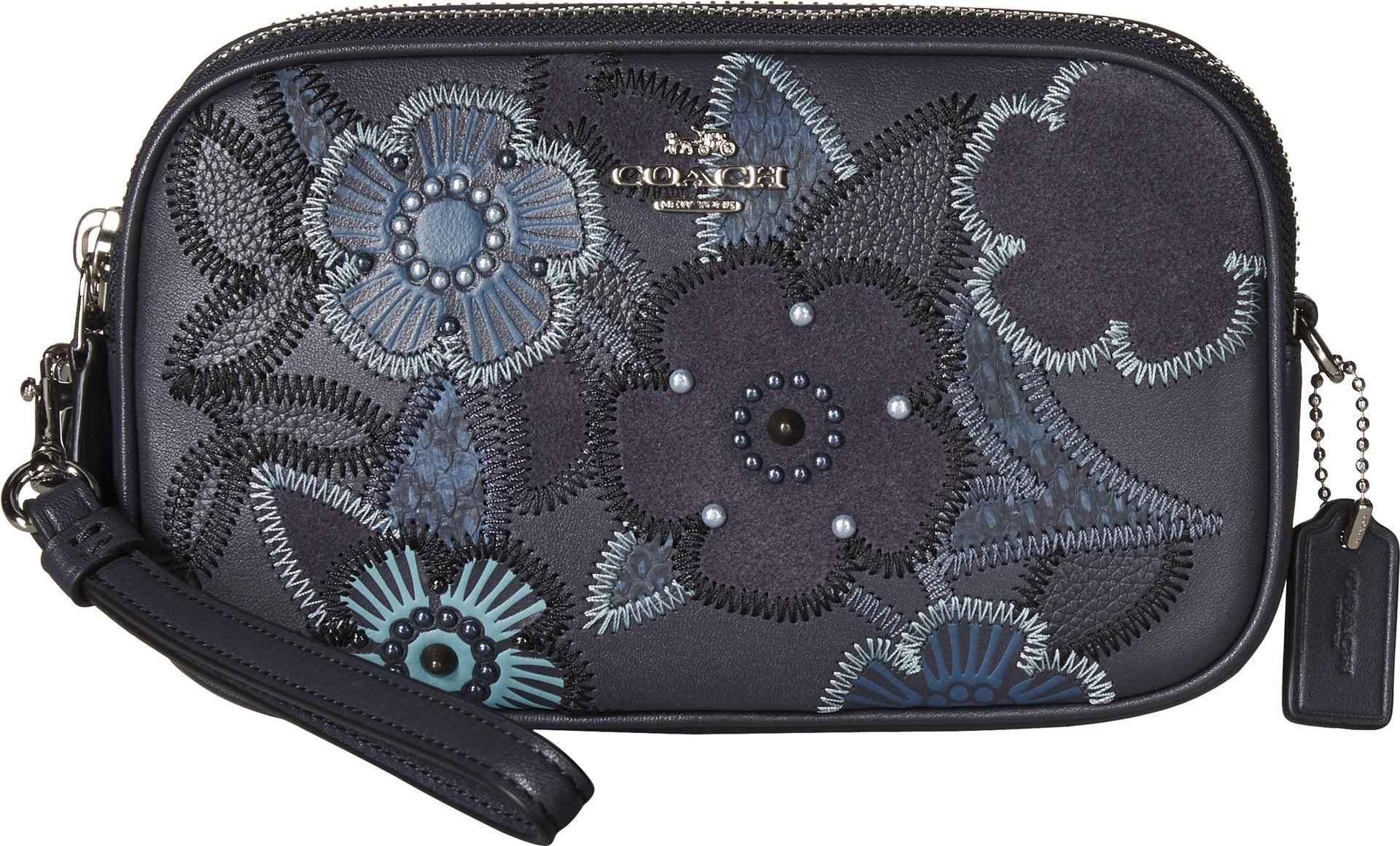 COACH Women's Crossbody Clutch With Patchwork Tea Rose And Snakeskin Detail Sv/Navy Multi One Size