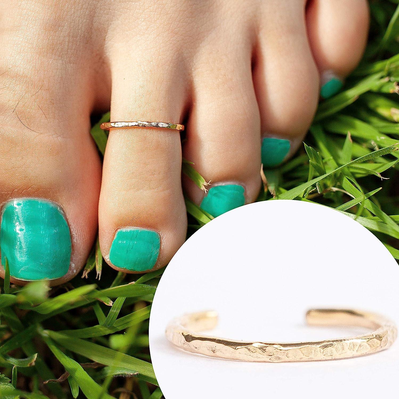 14k goldenen Filled Hawaiian Adjustable geöffnet Toe Rings ein Größe Fits am meisten Toes