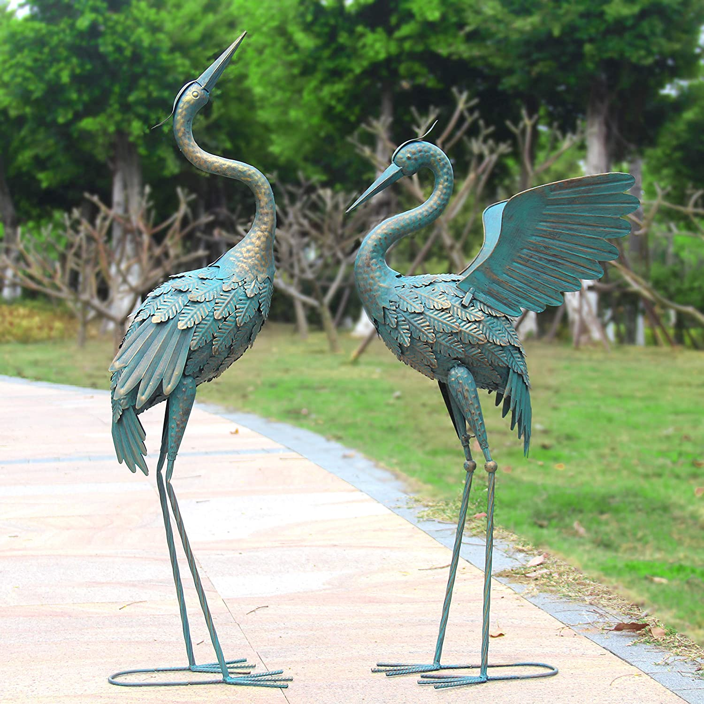 Oritty 33-37 Inch Metal Crane Garden Statue Décor, Bird Garden Sculpture & Statues, Outdoor Decoration for Yard Patio Lawn Backyard Pool, Vintage Spread Wings Crane, Set of 2
