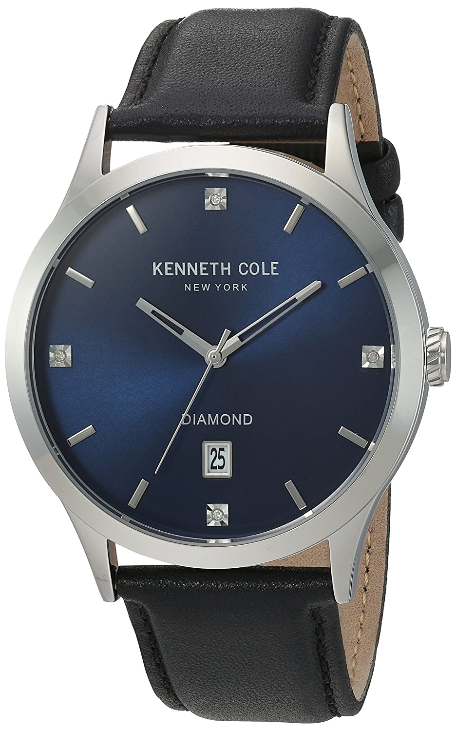c71a931e087 Amazon.com  Kenneth Cole New York Men s Diamond Stainless Steel  Japanese-Quartz Watch with Leather Calfskin Strap