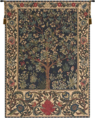 Charlotte Home Furnishings Inc. Tree of Life I By William Morris European Medium Tapestry Wall Hanging Cotton Blend Wall Art 55 in. x 67 in. Home Decor Accents