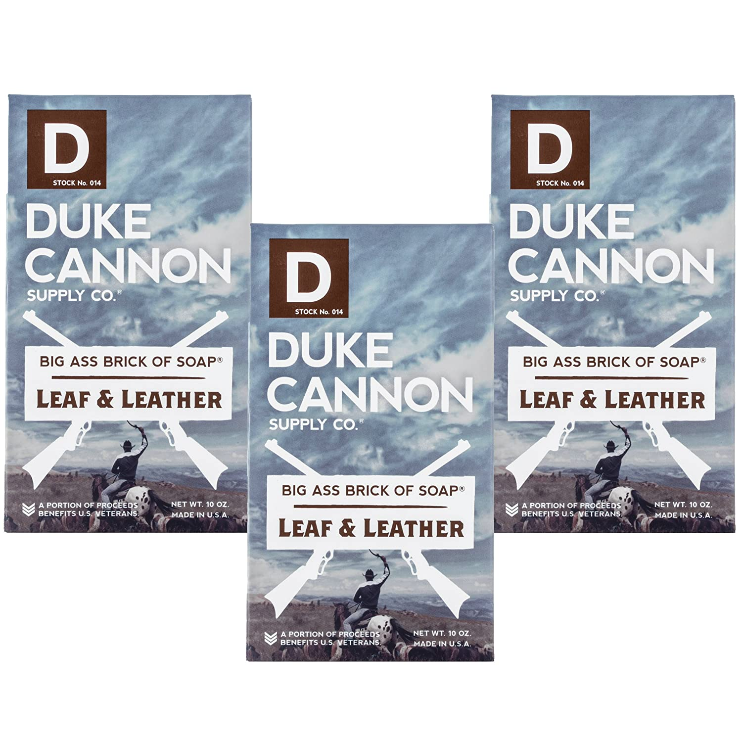 """Duke Cannon""""Great American Frontier"""" Men's Big Brick of Soap - Leaf + Leather, 10 oz (3 Pack)"""