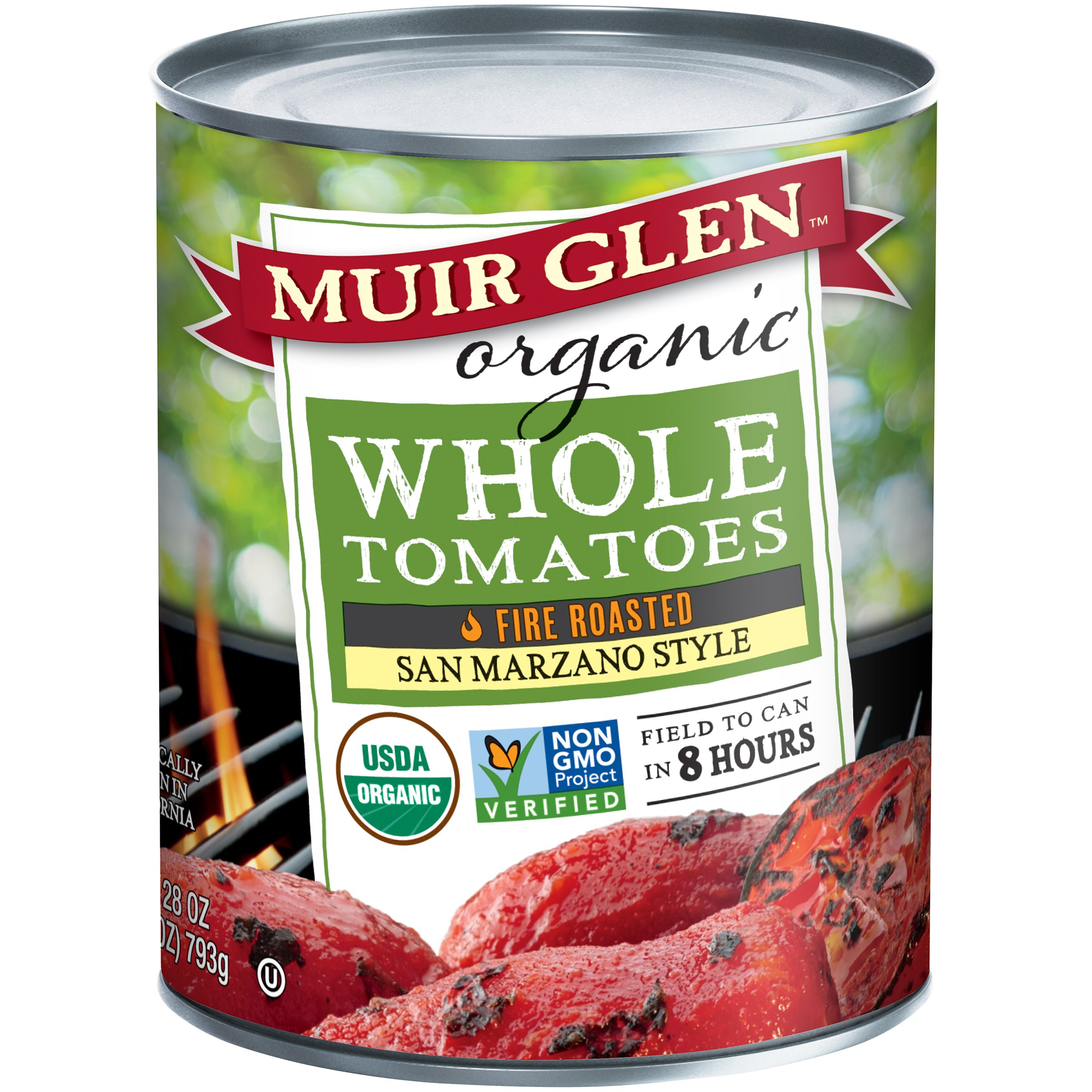 Muir Glen Organic San Marzano Style Fire Roasted Whole Tomatoes, 28 Ounce - 6 per case.