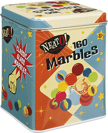160 TRADITIONAL GLASS MARBLES IN TIN ASSORTED COLOURS RETRO KIDS CHILDRENS TOY