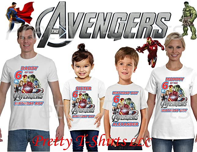 Avengers Birthday Shirt ADD Any Name Age Boy FAMILY Matching Shirts AVENGERS Superheroes 4 VISIT OUR SHOP