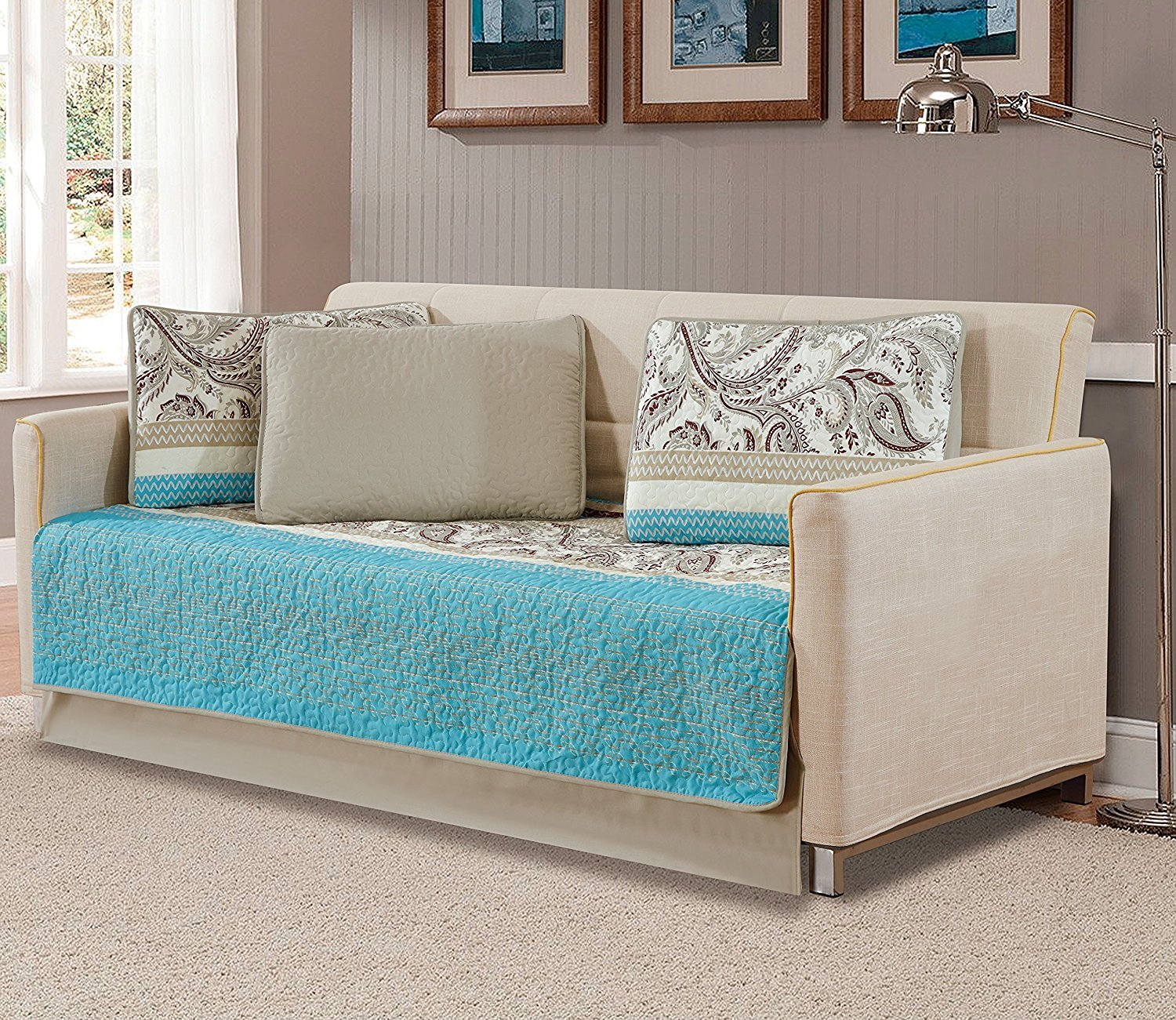 Linen Plus 5pc Daybed Cover Set Quilted Bedspread Floral Stripped Teal Taupe Off White