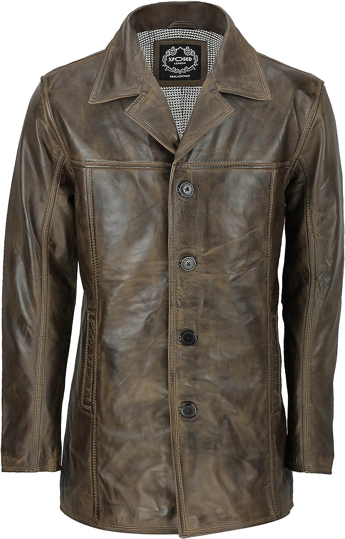 Chaqueta Reefer de cuero para hombre, estilo retro, estilo retro, color marrón envejecido