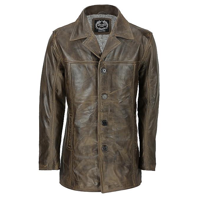 Xpose - Chaqueta de Piel para Hombre, Estilo Retro, Color marrón Envejecido: Amazon.es: Ropa y accesorios
